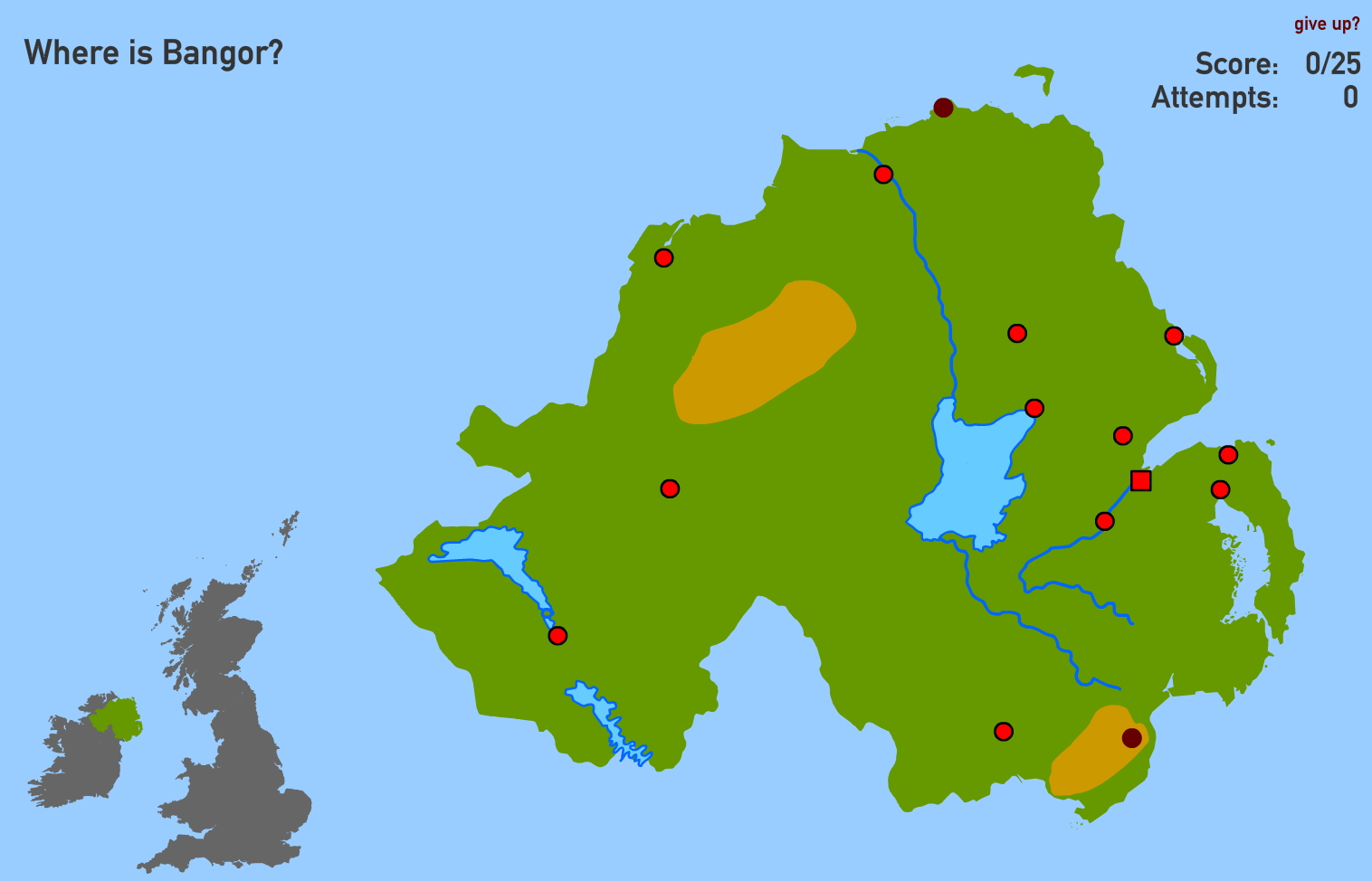 Physical features of Norhtern Ireland. Toporopa