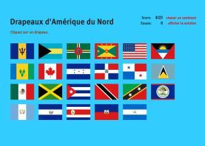 Drapeaux d'Amérique du Nord. Jeux de Géographie