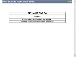 Paco travels to South Africa: Tarea 1