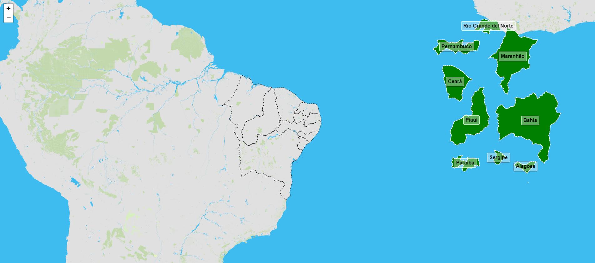 Estados da rexión nordeste de Brasil