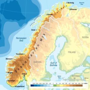 Mapa físico de Noruega. GRID-Arendal