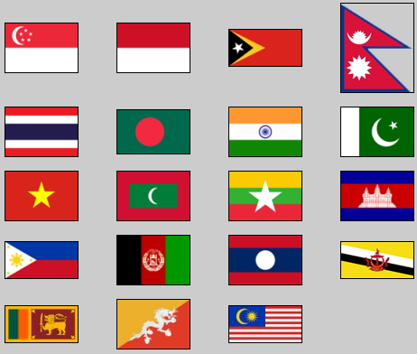 Flags of southern and southeast Asia. Lizard Point