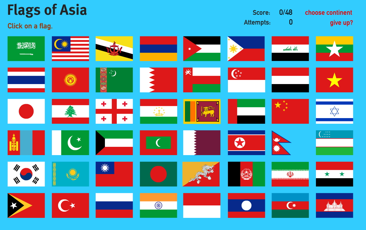 Interactive map of Asia Flags of Asia. World Geography Games ...