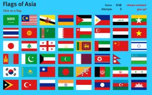 Flags of Asia. World Geography Games
