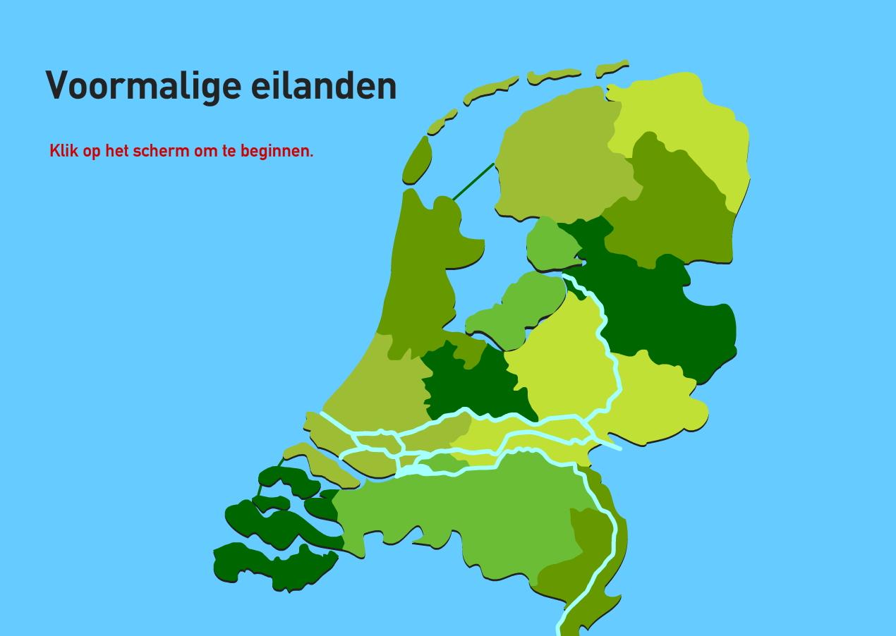 Voormalige eilanden. Topografie van Nederland