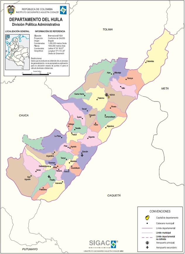 Mapa político de Huila (Colombia). IGAC