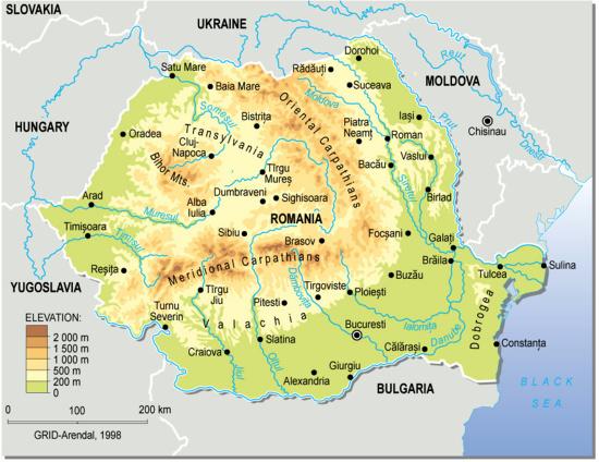 Mapa físico de Rumanía. Grid-Arendal