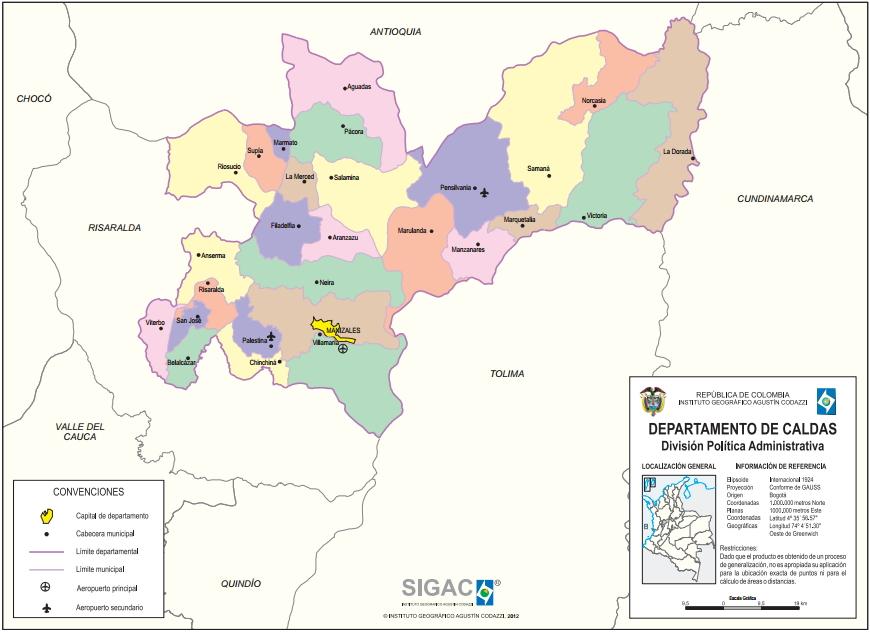 Mapa político de Caldas (Colombia). IGAC