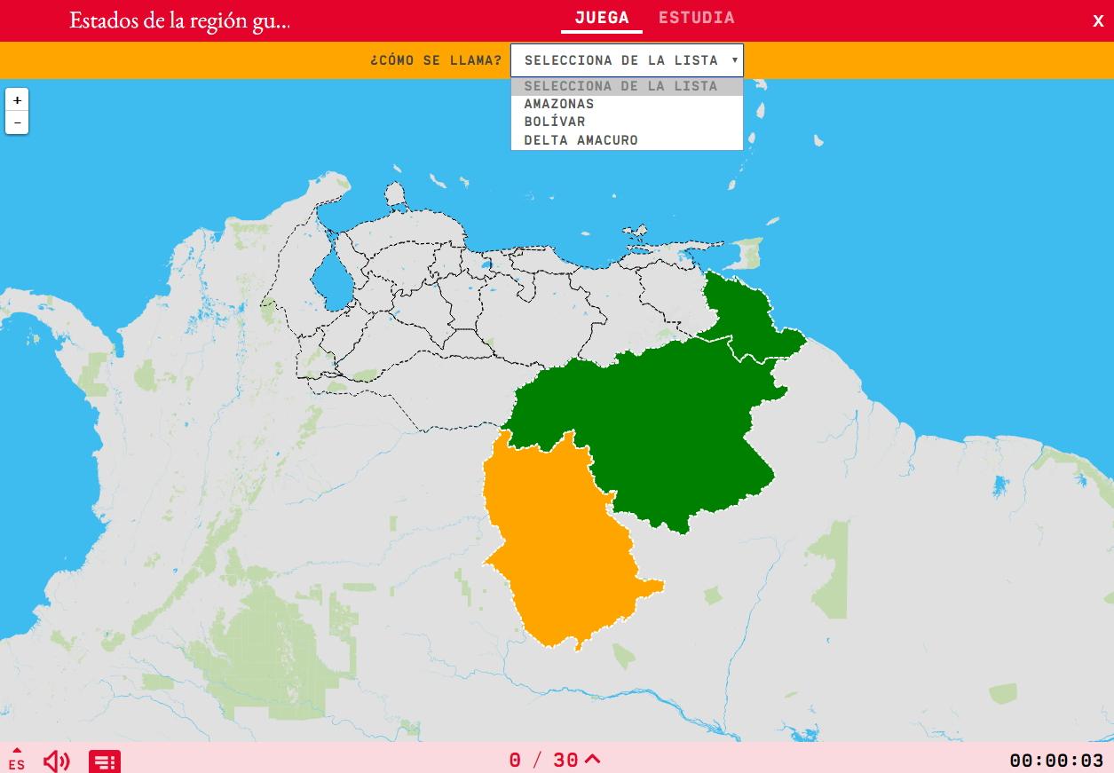 Staaten der Guayana region von Venezuela