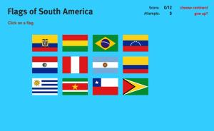Flags of South America. World Geography Games