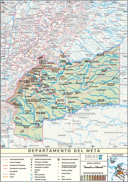 Mapa físico de Meta (Colombia). IGAC