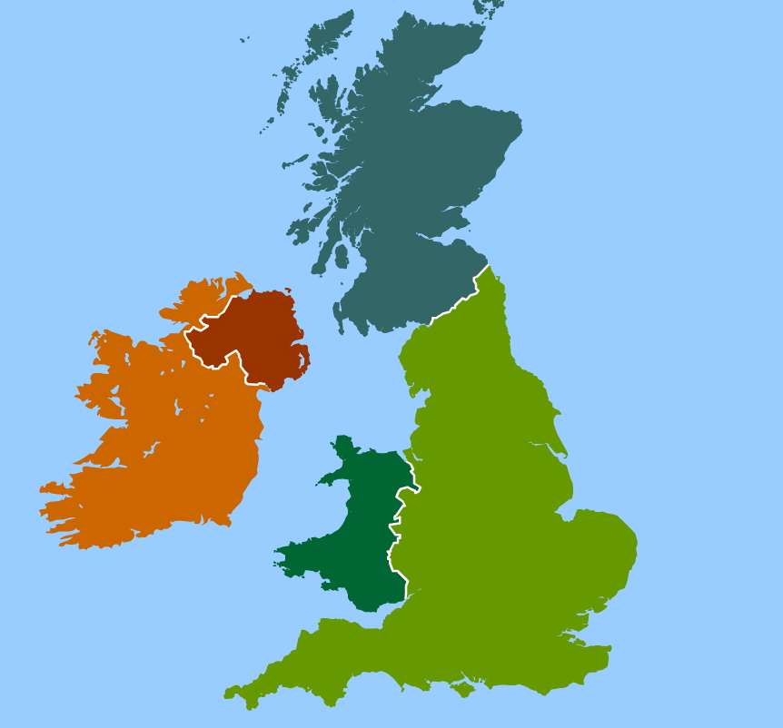 Countries and capitals of United Kingdom and Ireland. Toporopa