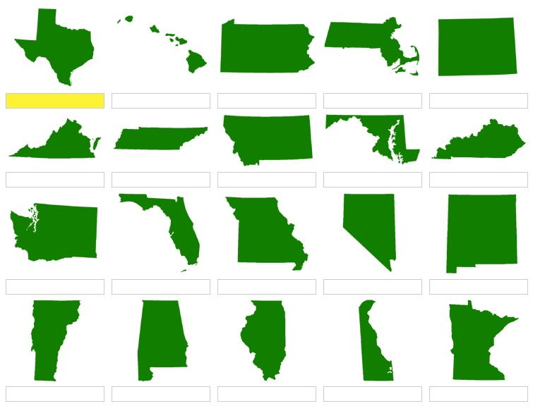 U.S. state shapes  (JetPunk)