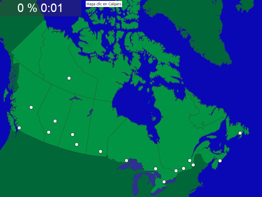 Ciudades de Canadá (difícil). Seterra