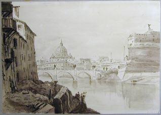 Vista de San Pedro y del castillo de Sant´Angelo, Roma (Italia)