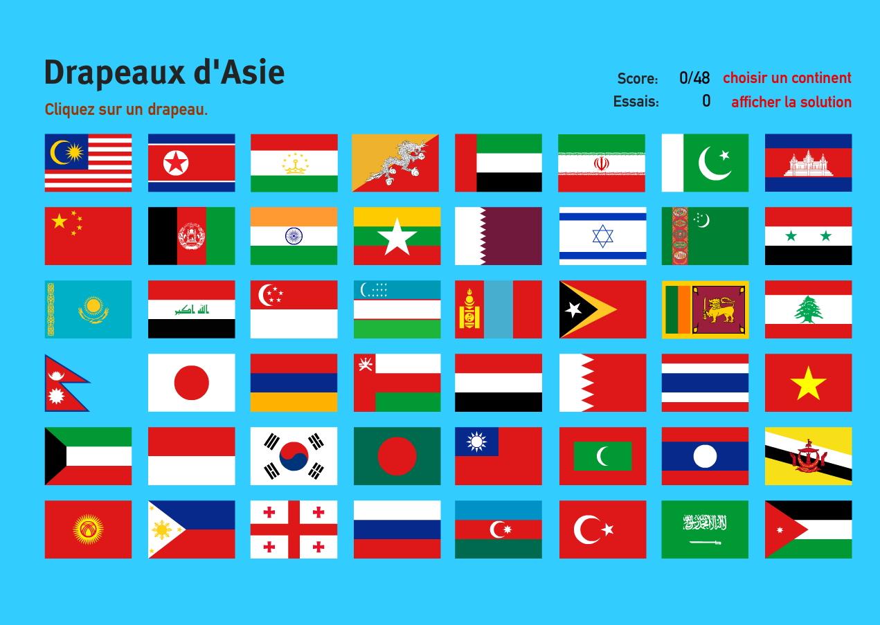 Drapeaux d'Asie. Jeux de Géographie