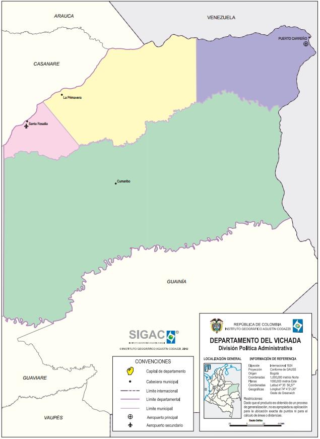 Mapa político de Vichada (Colombia). IGAC