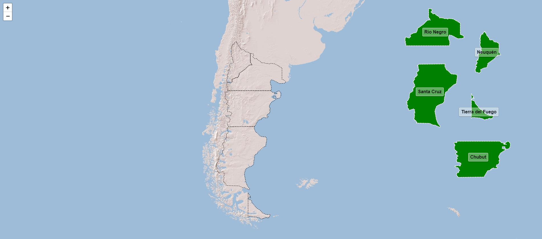 Provincias de la región de la Patagonia de Argentina