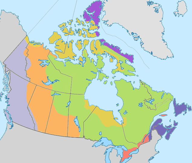 Geophysical regions of Canada. Lizard Point