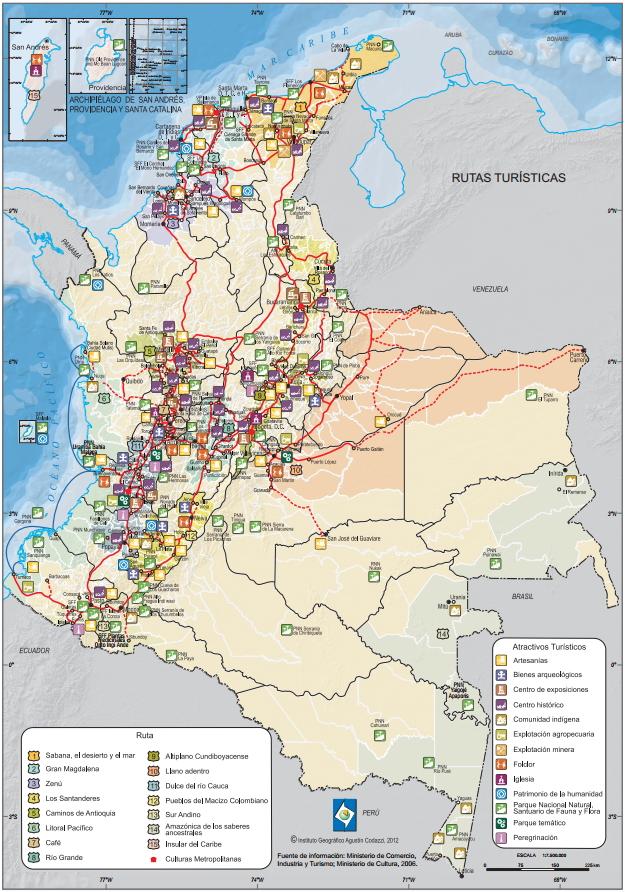 Mapa turístico de Colombia. IGAC