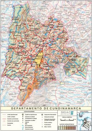 Mapa físico de Cundinamarca (Colombia). IGAC