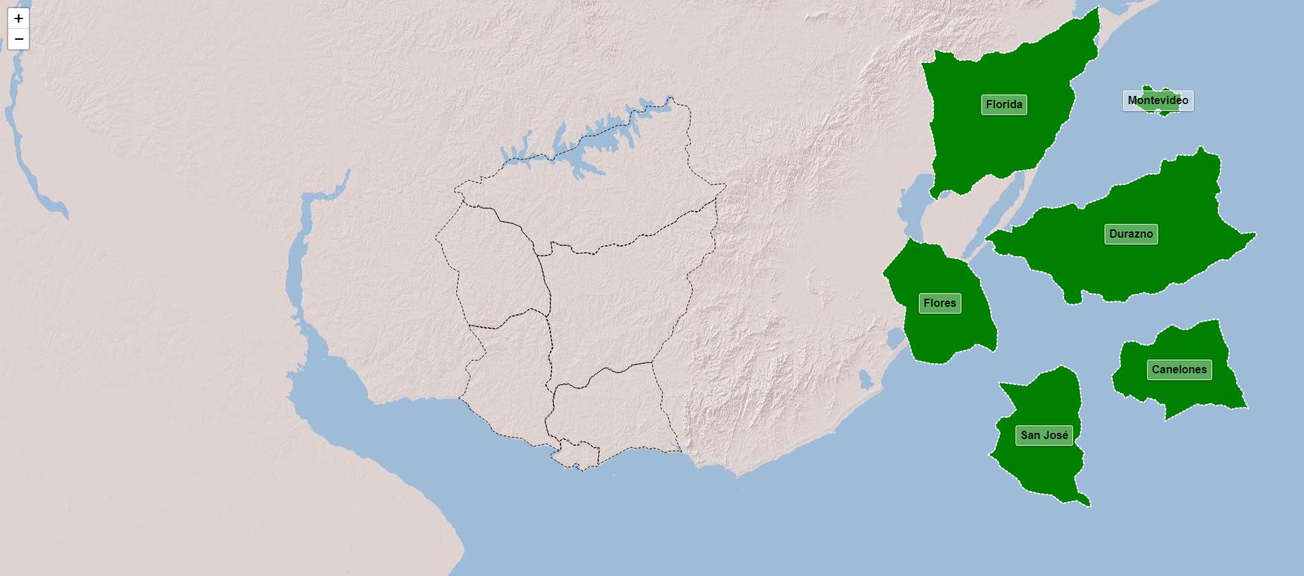 Departamentos de la región centro-sur de Uruguay
