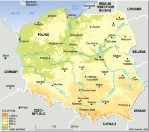 Mapa físico de Polonia. GRID-Ardenal