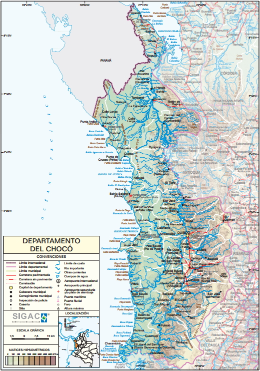 Mapa físico de Chocó (Colombia). IGAC