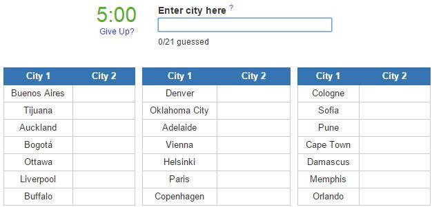 Closest city pairs  (JetPunk)