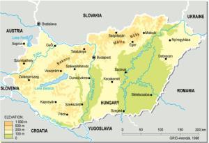 Mapa físico de Hungría. Grid-Arendal
