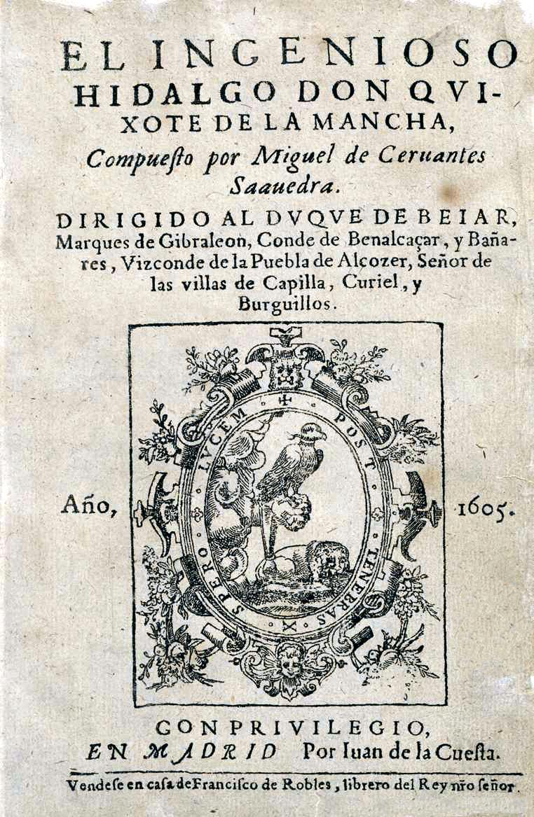 Portada original de El Quijote, 1605