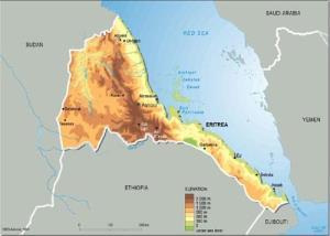 Mapa de relieve de Eritrea. Grid-Arendal