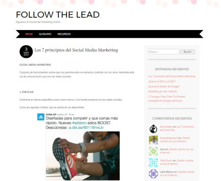 Blog Follow the lead - Marketing digital para estudiantes
