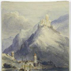 Vista del castillo de Maus, a orillas de Rhin (Alemania)