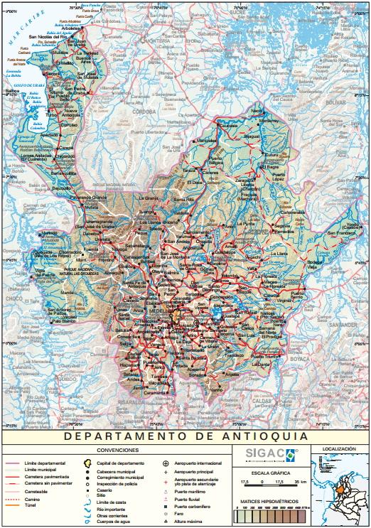 Mapa físico de Antioquia (Colombia). IGAC