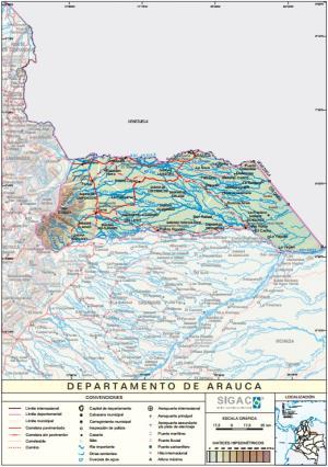 Mapa físico de Arauca (Colombia). IGAC
