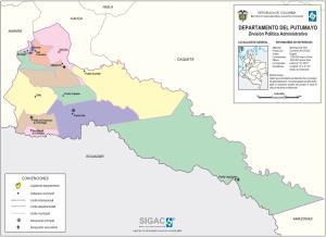 Mapa político de Putumayo (Colombia). IGAC