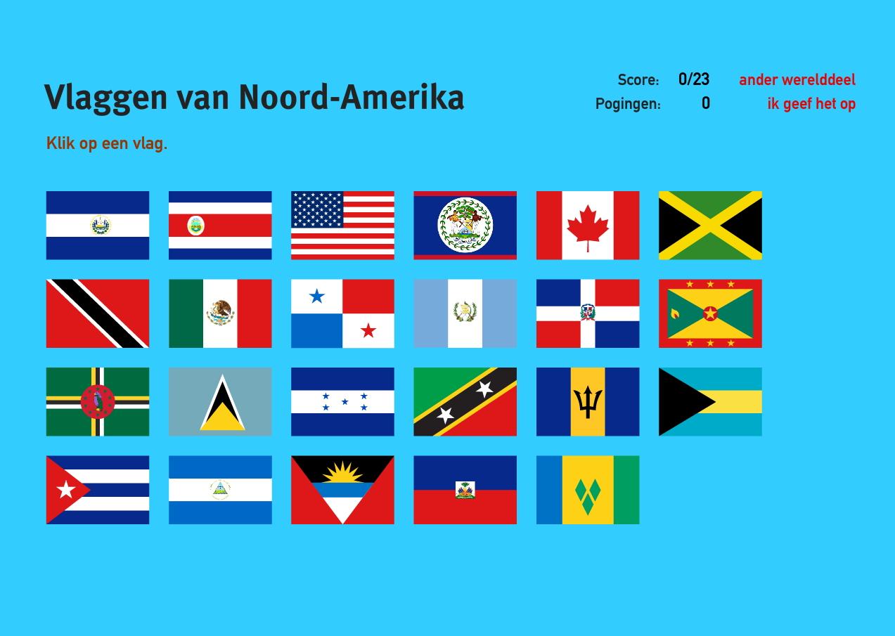 Vlaggen van Noord-Amerika. Topo Wereld