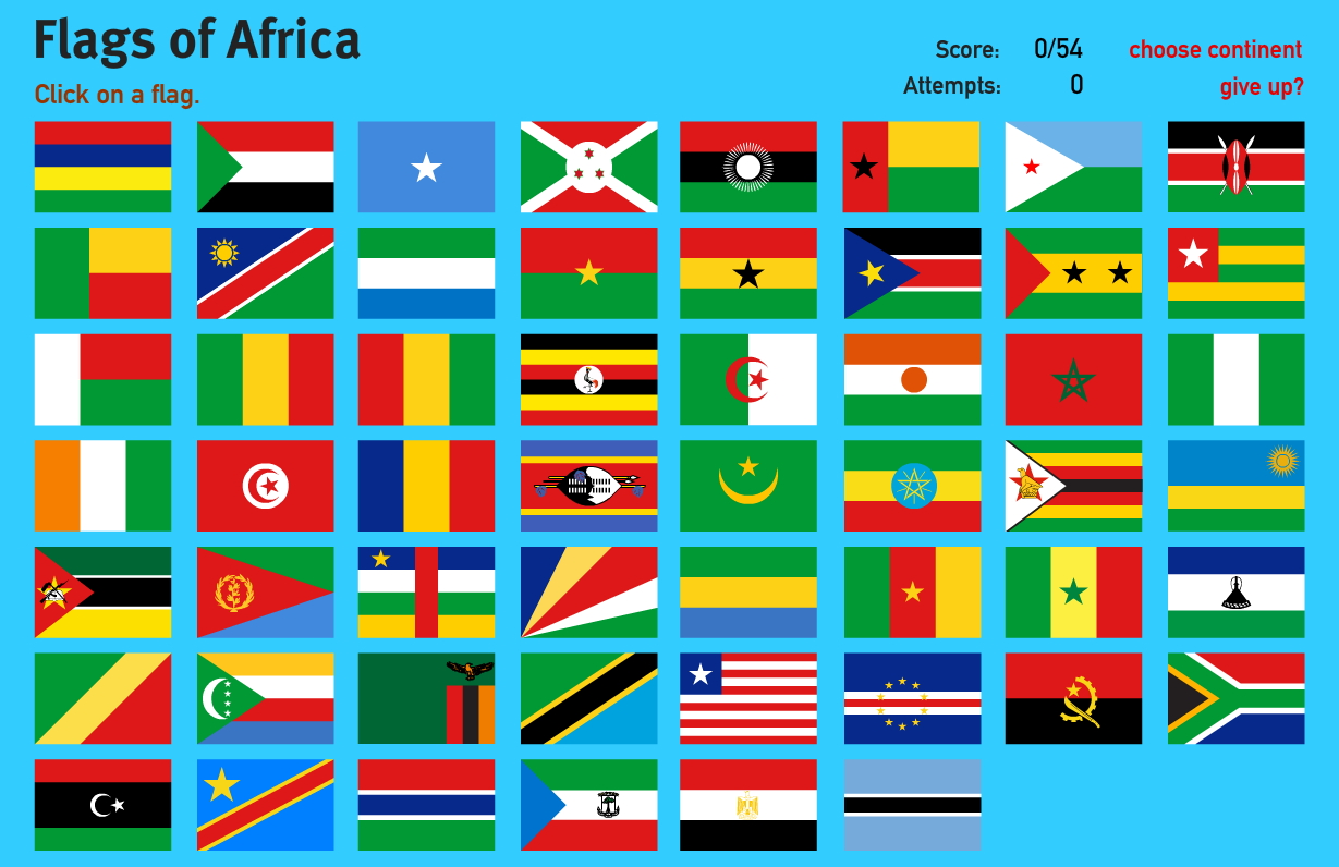 Interactive Map Of Africa Flags Of Africa World Geography Games