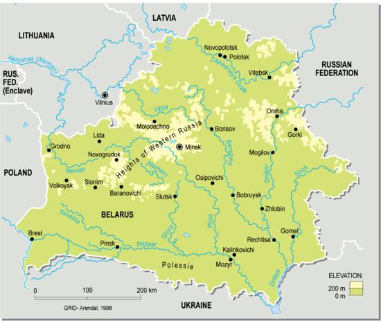Mapa físico de Bielorrusia. GRID-Arendal