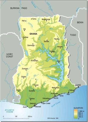 Mapa físico de Ghana. GRID-Arendal