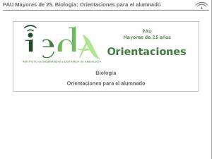 PAU Mayores de 25. Biología: Programación