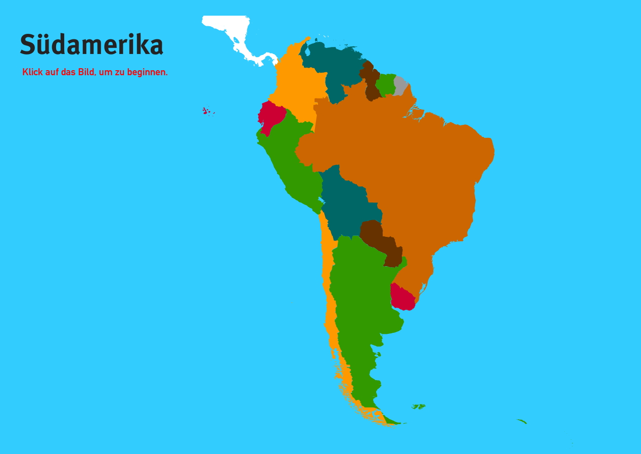Länder der Südamerika. Welt-Quiz Geographie