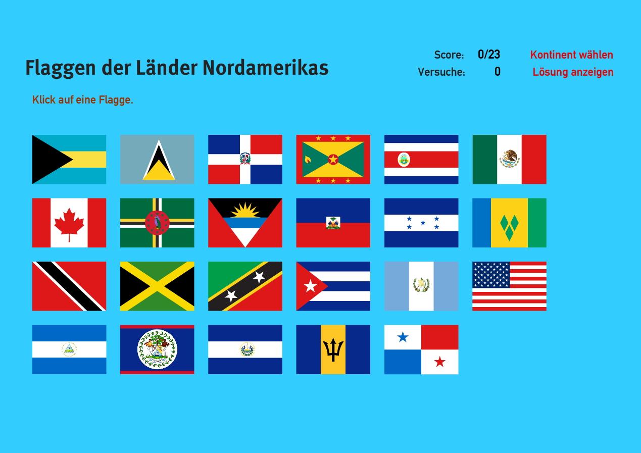 Flaggen der Länder Nordamerikas. Welt-Quiz Geographie