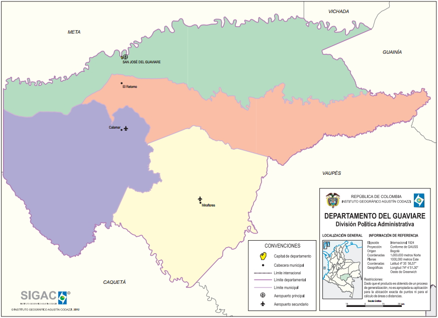 Mapa político de Guaviare (Colombia). IGAC