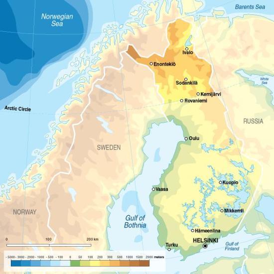 Mapa físico de Finlandia. GRID-Arendal