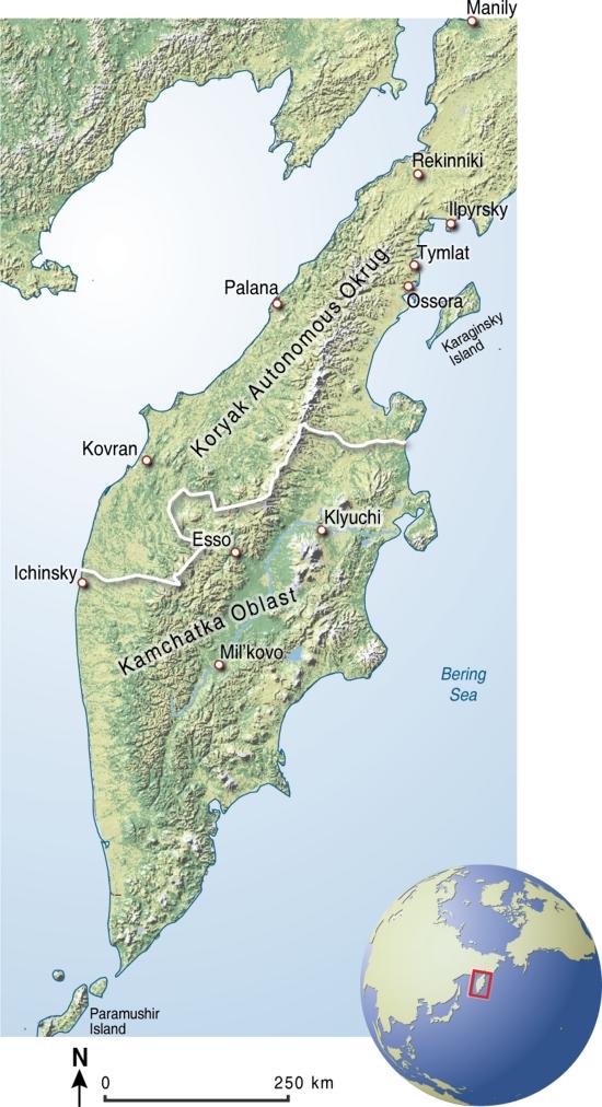 Mapa político de la península de Kamchatka. GRID-Arendal