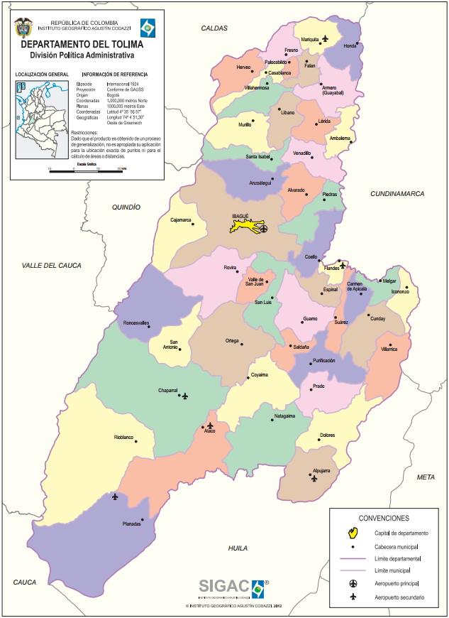 Mapa político de Tolima (Colombia). IGAC