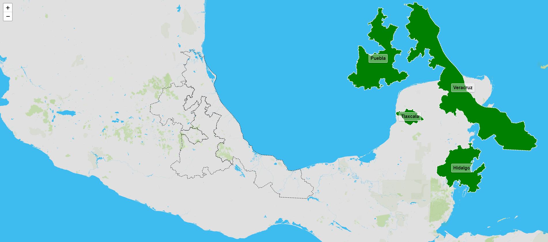 Estados da rexión este de México