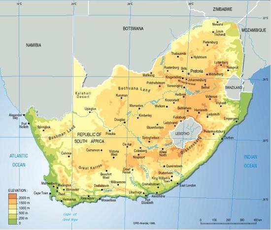 Mapa físico de Sudáfrica. Grid-Arendal